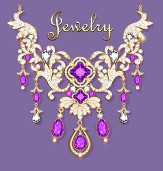 A womans necklace with precious stones vector