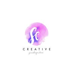 sc watercolor letter logo design with purple vector image