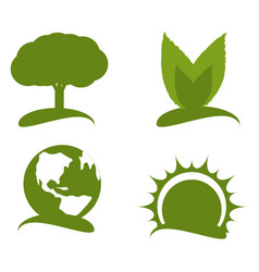 Set green icon for planet conservation vector