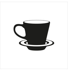 Cup and saucer - icon in simple monochrome style vector