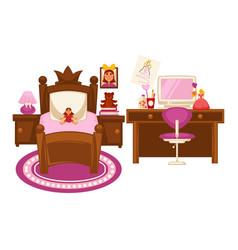 Bedroom of little girl vector