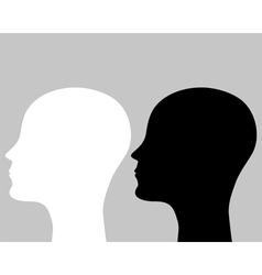 Two silhouettes human head vector