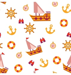 Seamless pattern with sea travel elements vector