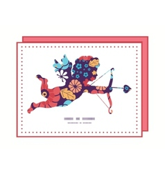 Colorful bouquet flowers shooting cupid vector