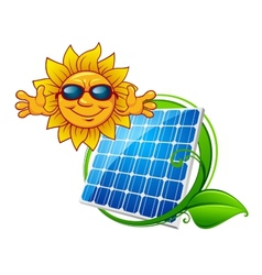 Solar panel with smiling sun vector