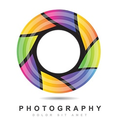 Photography iris aperture logo vector