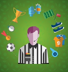 Soccer game items big icon set vector