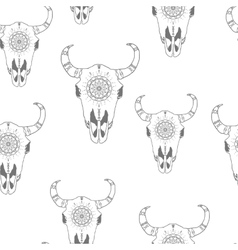 Seamless pattern with hand drawn antelope skulls vector