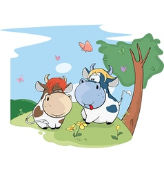Two cute cows vector