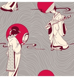 Traditional japanese geisha seamless pattern vector