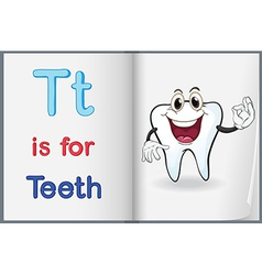 A picture of a tooth in a book vector image vector image