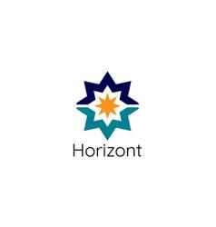 Abstract sun star horizon logo template modern vector