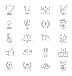 Award and Trophy Icons Line Set vector image
