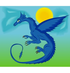 Blue dragon in the sky vector image vector image