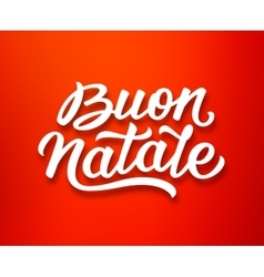 Buon natale lettering in italian christmas card vector