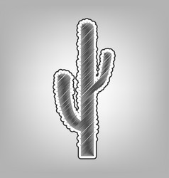 Cactus simple sign pencil sketch vector
