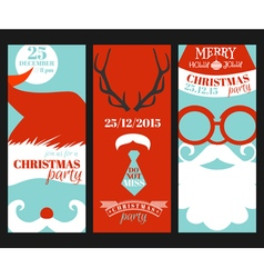 Christmas Retro Party Cards - Photo booth Style vector image