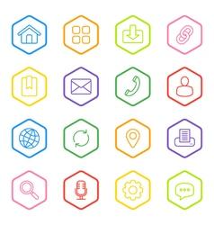 Colorful line web icon set hexagon vector