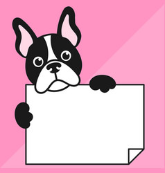 cute french bulldog with sheet of paper vector image vector image
