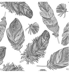 Feather seamless pattern feathers on a white vector