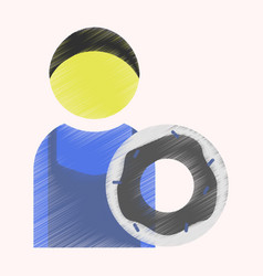 flat icon in shading style cook donut vector image
