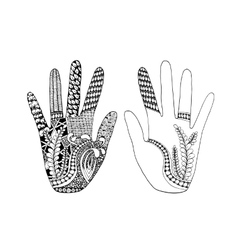 Floral palm hand drawn zentangle style for our vector image vector image