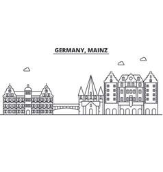 Germany mainz architecture line skyline vector