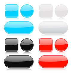 glass buttons collection round square and oval vector image vector image