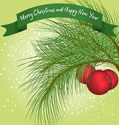 Green fur-tree branch with christmas balls under vector image