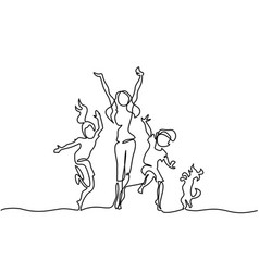 happy mother dancing with children and dog vector image