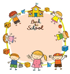 Kindergarten Kids Back to School Frame vector image vector image