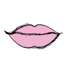 Lips mouth woman sensual icon vector