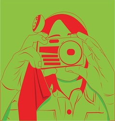 little girl try to take a picture of you vector image