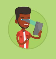 man using iris scanner to unlock his mobile phone vector image