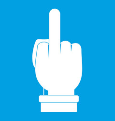 Middle finger hand sign icon white vector