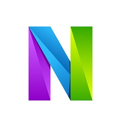 N letter one line colorful logo design template vector