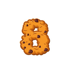 Number 8 cookies font oatmeal biscuit alphabet vector