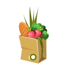Paper bag with food vector