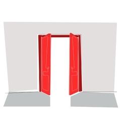 Red doors flat line vector image
