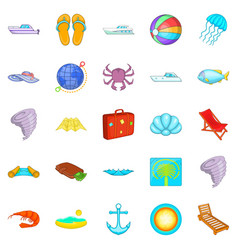 Relax on the ship icons set cartoon style vector