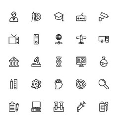 Science and technology line icons 5 vector