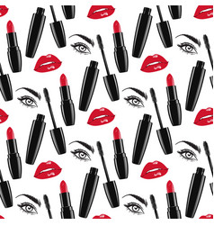 Seamless pattern red lips and lipsticks mascara vector
