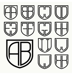 Set 1 of template letters inscribed in the shield vector image