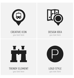 set of 4 editable location icons includes symbols vector image vector image