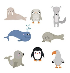 set of different arctic animals vector image vector image