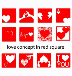 set of heart in red square vector image vector image