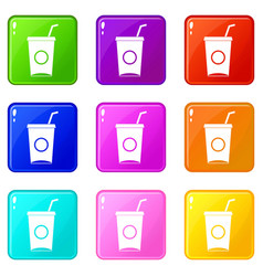 Soft drink in paper cup icons 9 set vector