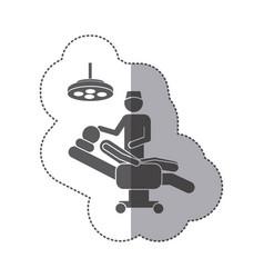 Sticker monochrome pictogram person with surgeon vector