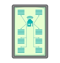 Tablet with system clever house icon cartoon style vector
