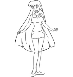 Teenage girl in tanktop and shorts coloring page vector